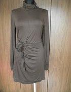 Czekoladowa wiązana sukienka Zara L