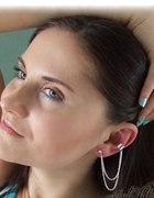 EAR CUFF nausznica i kolczyk z łańcuszkiem srebrny