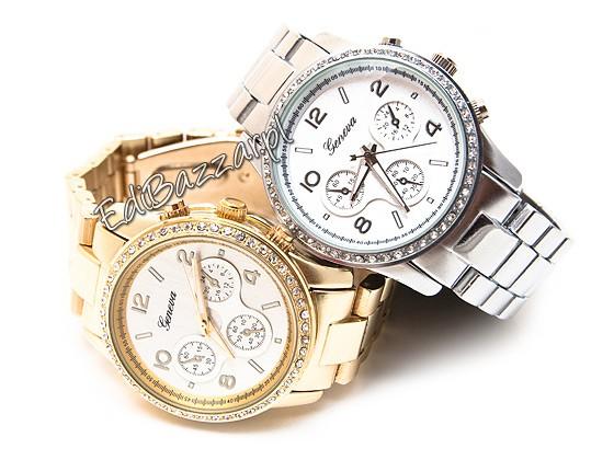 Damski złoty zegarek GENEVA cyrkonie swarovski