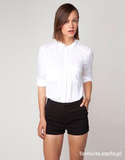 Biała koszula tuliowa BERSHKA