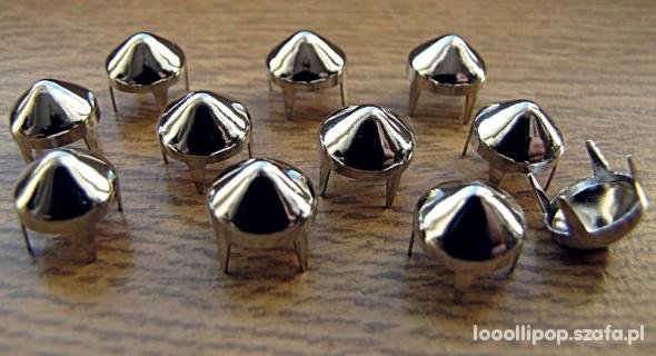 Pozostałe srebrne Ćwieki stożki kolce okrągle śr 9mm wys 9mm