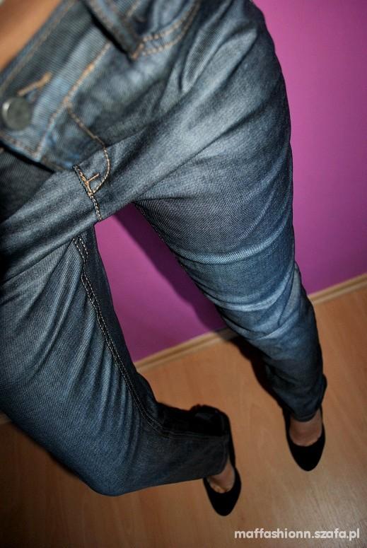 Spodnie Nowe WOSKOWANE z plecionką na dole z TYŁU