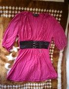 Amarantowa elegancka bluzka tunika glam rock
