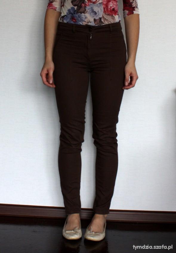 Spodnie H&M spodnie rureki brąz XS