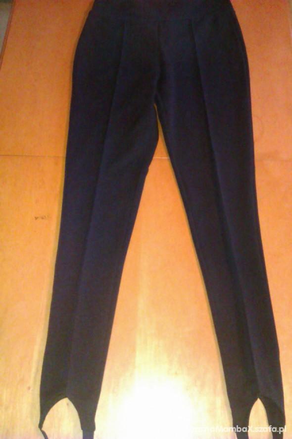 Spodnie Granatowe bryczesy z wysokim stanem i zapietkami