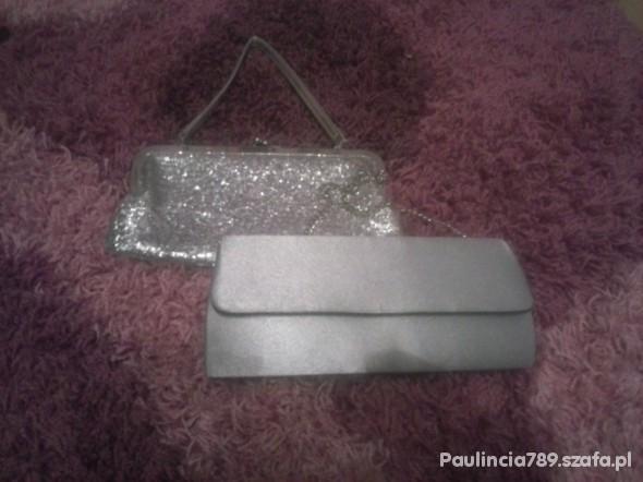 Torebki wieczorowe 2 srebrne kopertówki