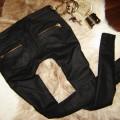 Mega czarn woskowane rurki złote zipy Bershka Zara
