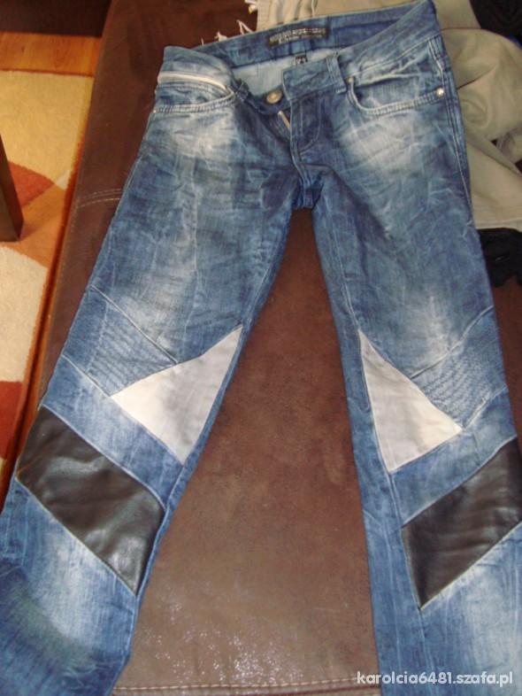 Spodnie Bershka XXS 32 wstawki skórzane