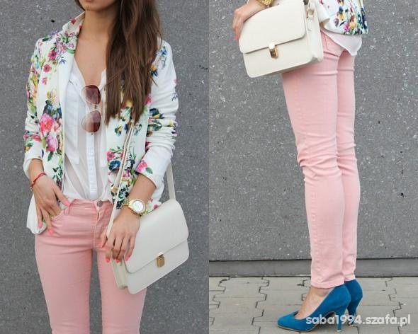 Spodnie pastelowe pudrowe rurki DENIM CO