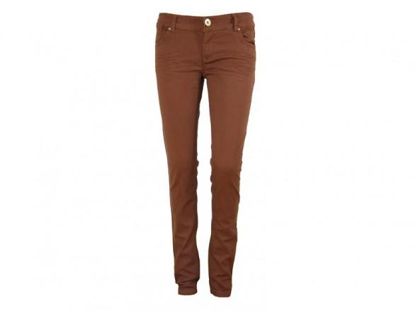 Spodnie Skinny rurki Terranova brązowe sztruksy S cynamon