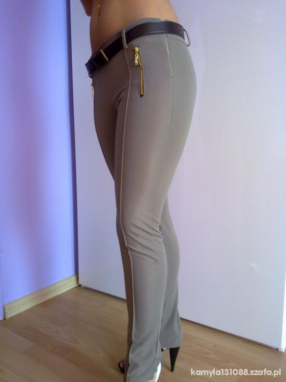 Spodnie Świetne leginsospodnie beżowe eleganckie