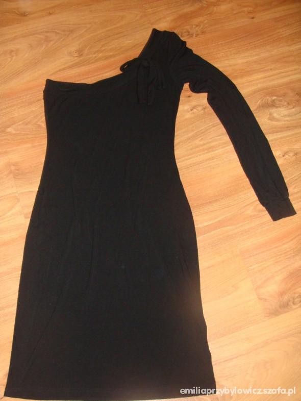 Suknie i sukienki Czarna sukienka z jednym rękawem