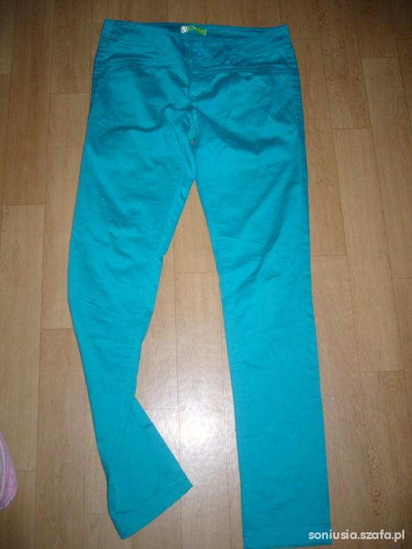 Spodnie turkusowe rurki cropp L