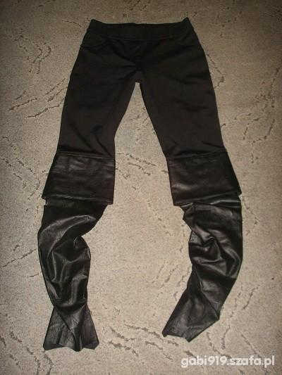 Spodnie tregginsy pół skórzane