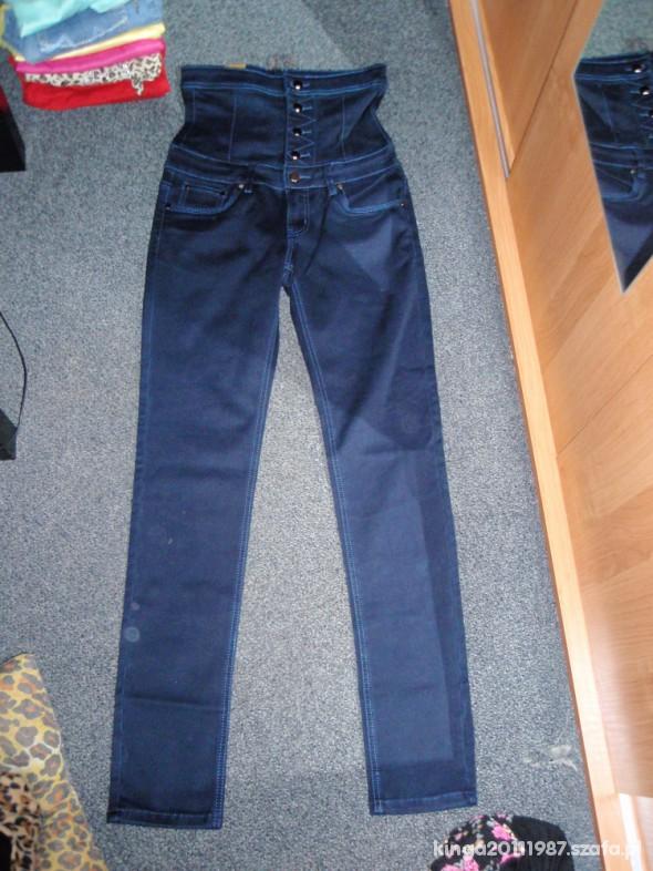 Spodnie Ciemne Jeansy Wysoki Stan Rurki
