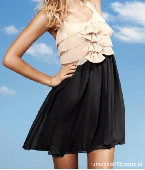 Suknie i sukienki śliczna HM pudrowy róż kokardki