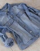 kurtka parka ramoneska jeansowa oversize ćwieki