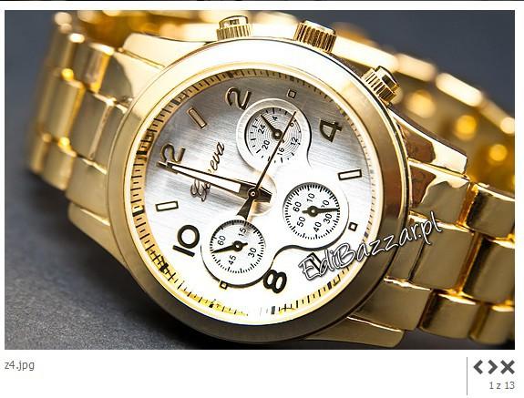 Damski złoty srebrny zegarek GENEVA HIT blogerek