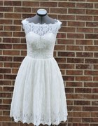 krótka koronkowa pin up suknia ślubna