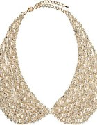 Gold collar necklace with crystals and pearls...