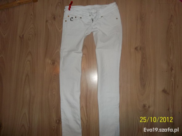 Spodnie Rurki Biały Jeans S z Wysyłka