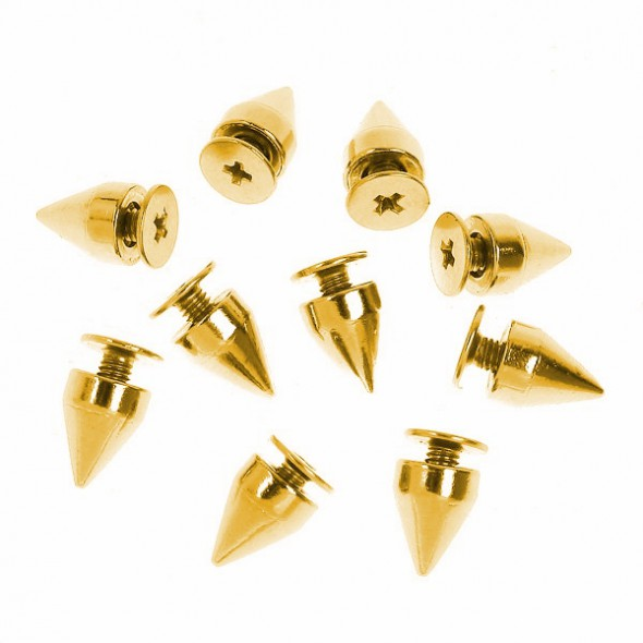 Pozostałe Ćwieki złote KOLCE SPIKE STOZKI 10mm
