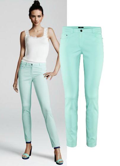 Spodnie H&M miętowe spodnie rurki 40 L