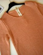 nowy morelowy sweter złota nic zamek na plecach