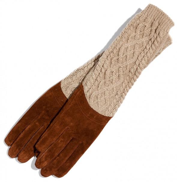 reserved zara długie rękawiczki camel nude