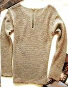 nowy beżowy sweter z zipem 37zł złota nić
