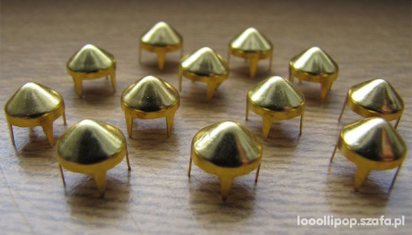 Pozostałe Złote Ćwieki stożki kolce okrągle śred 9mm wys 9mm