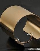 Bransoletka mankiet z łańcuszkiem złota