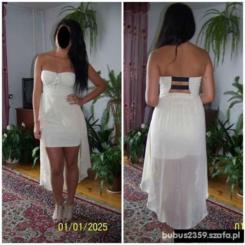 Asymetryczna sukienka nude