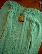 nowy miętowy sweter warkocze 35zł