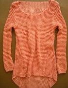 nowy sweter z dłuzszym tyłem morelowy
