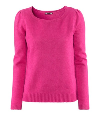 Malinowy fuksja sweter H&M angorka...