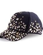 Ciemna czapka z daszkiem kamienie H&M DIY...