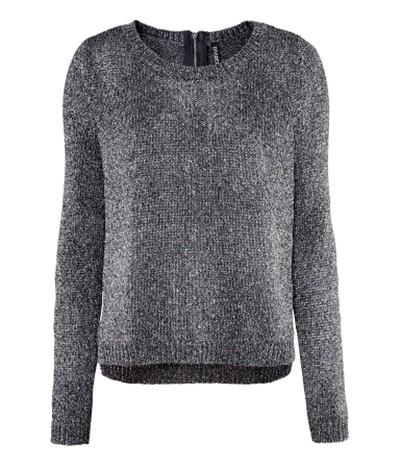 Metaliczny sweter czarny srebrne nici ZIP C&A...