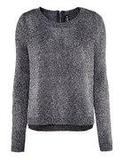 Metaliczny sweter czarny srebrne nici ZIP C&A