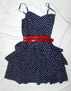 Granatowa sukienka w groszki 36 h&m