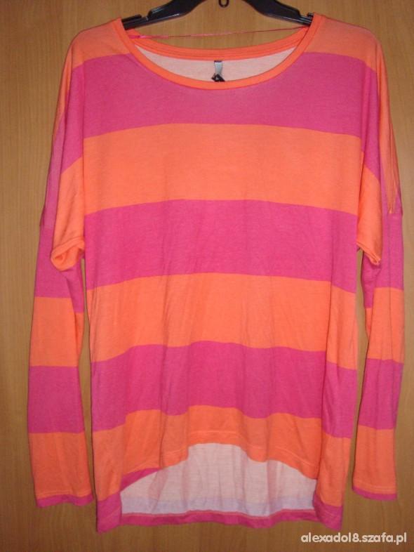 Bluzki Pomarańczowo różowy pasiak oversize 40 12 L