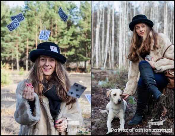 Vintage Stary kapelusz mamy i lumpeksowe futro