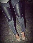 Spodnie rurki jeansy z skórzanymi wstawkami