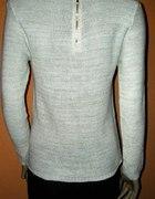 nowy biały sweter złota nić zamek na plecach