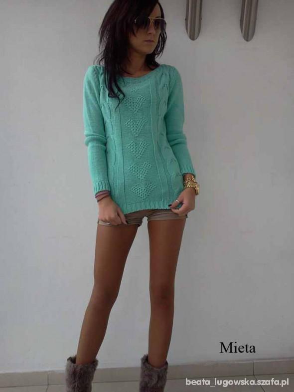 Piękny miętowy sweterek S M