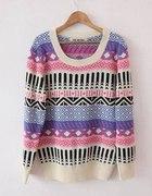 Gruby ciepły sweter aztec norweskie wzory