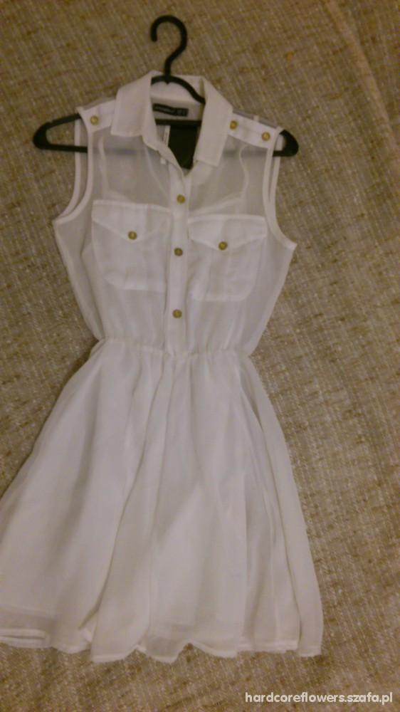 Suknie i sukienki Biała zwiewna sukienka