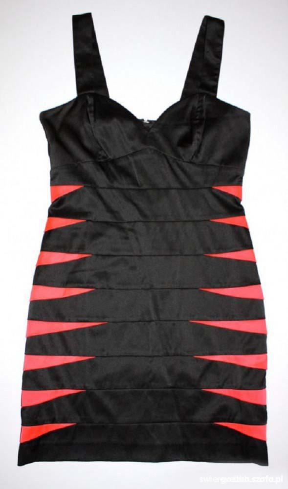 sukienka bandażowa wstawki neonowe
