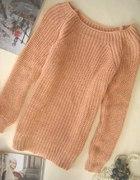 nowy morelowy sweter złota nić 37 zł