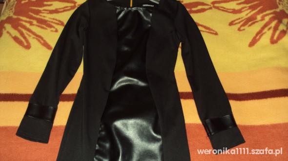 sliczna czarna mini sukienka tunika skora